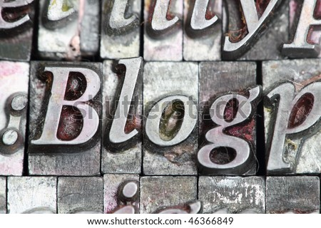 the word blog in letterpress type surrounded with random letters. - stock photo