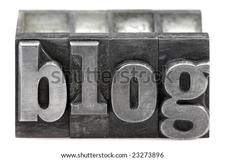 The word Blog in old letterpress printing blocks isolated on a white background. - stock photo