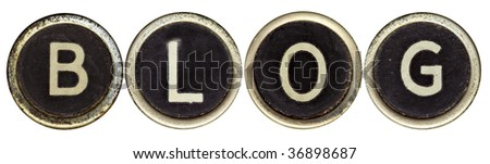 """The word """"BLOG"""" spelled in old typewriter keys.  Isolated on white.  Lots of dust and rust. - stock photo"""