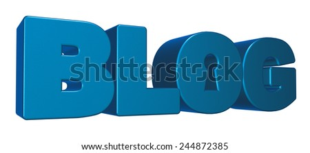 the word blog with keyhole - 3d illustration - stock photo