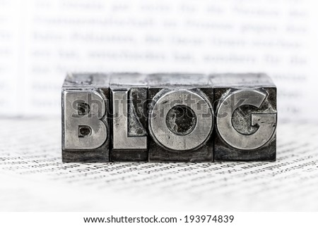 the word blog with lead letters written. symbolic photo for blog - stock photo