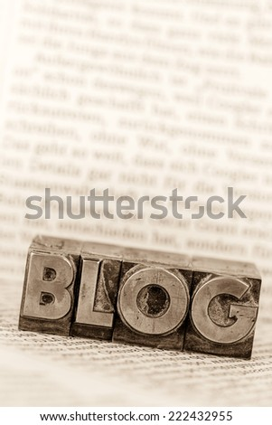 the word blog written with lead letters. symbol photo for blog - stock photo