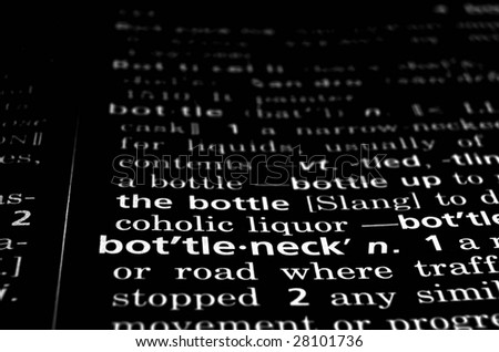 The word bottleneck in a dictionary, white on black - stock photo