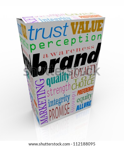 The word Brand on a box or package with several related terms such as quality, loyalty, trust, and identity to signify unique differentiators for a product or service in its market - stock photo