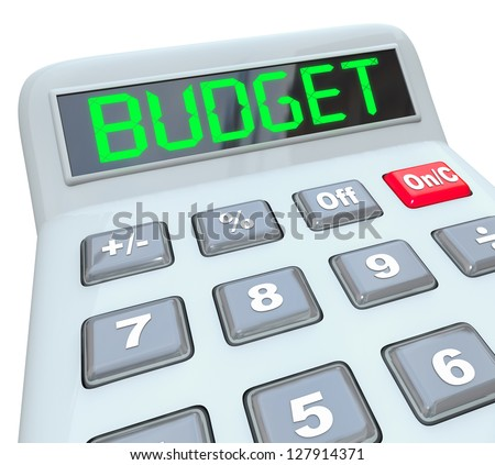 The word Budget in digital letters on the display of a plastic calculator