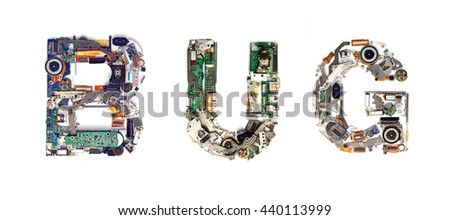The word BUG made  with letters that are made of computer parts - stock photo