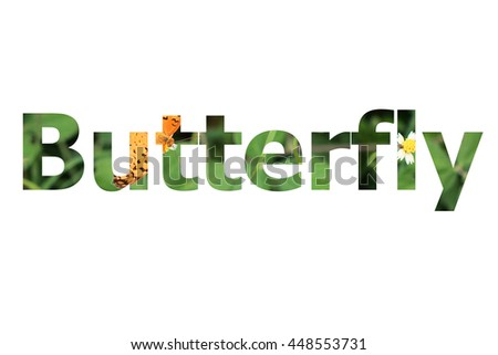 "The word ""Butterfly"" with butterfly background inside"