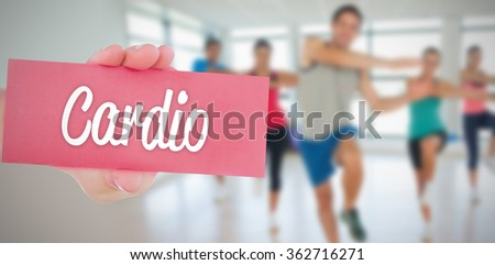 The word cardio and hand showing card against - stock photo