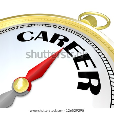 The word Career on a gold compass illustrating the directions to a path leading to a successful job and career with promotions and advancement and professional goals achieved - stock photo