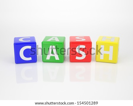 The Word Cash out of multicolored Letter Dices