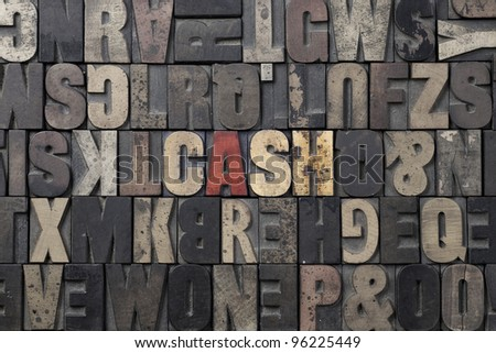 The word Cash written in antique letterpress printing blocks. - stock photo