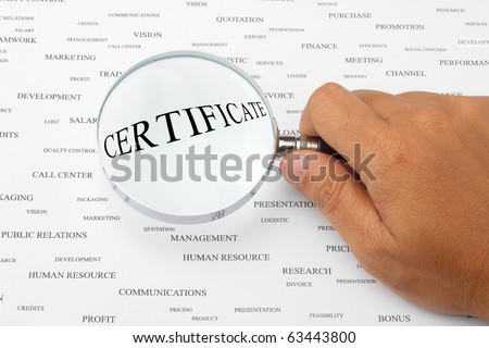 The word CERTIFICATE is magnified.