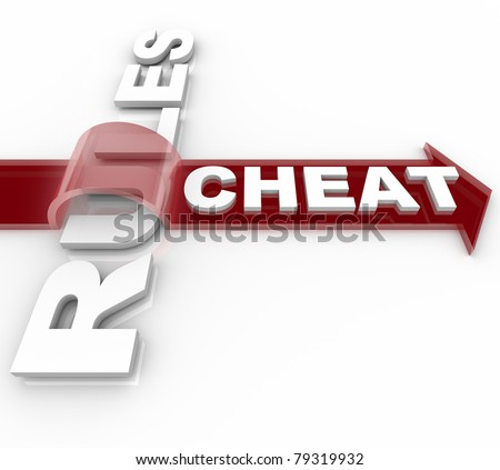The word Cheat on an arrow jumping over the word Rules, illustrating a decption or breaking the laws that aim to make a system fair - stock photo