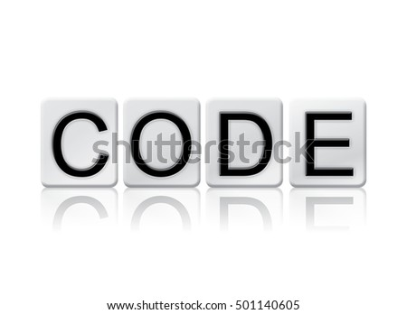 "The word ""Code"" written in tile letters isolated on a white background."