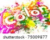 """The word """"COLOR"""" spelled out in a mess of colored dye powder. - stock photo"""