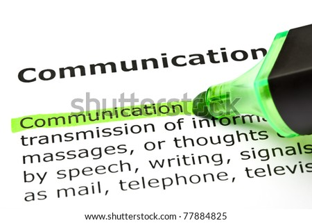 The word Communication highlighted in green with felt tip pen.