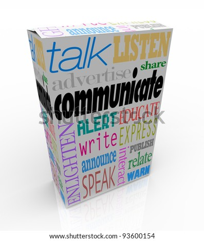 The word Communication on a box along with many other related words such as talk, listen, advertise, announce, warn, alert, enlighten and others to symbolize the sharing of thoughts and ideas - stock photo
