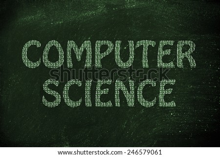 the word computer science made of binary code