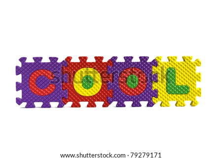 """The word """"Cool"""" written with alphabet puzzle letters isolated on white background - stock photo"""