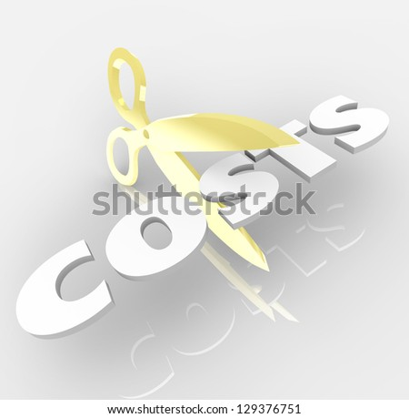 The word Costs being cut by a pair of gold scissors to symbolize cost cutting and saving money by reducing prices of expenses - stock photo
