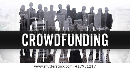 The word crowdfunding against white background against composite image of business people