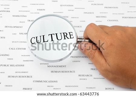 The word CULTURE is magnified. - stock photo