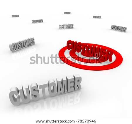 The word Customer is targeted with a bullseye surrounded by other customers, symbolizing target marketing and honing on on a niche market - stock photo