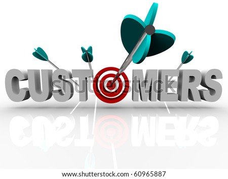 The word Customers with a target in place of the letter O and an arrow making a direct hit - stock photo