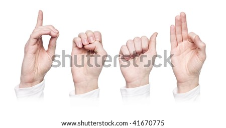 The word 'deaf' in sign language, isolated on a white background