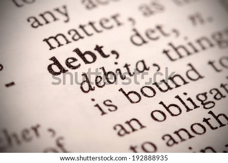 """The word """"Debt"""" in a dictionary - stock photo"""