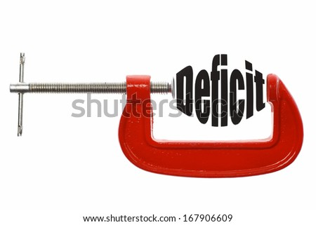 "The word ""Deficit"" is compressed with a vice. Business metaphor. - stock photo"
