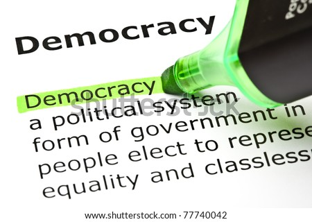 The word Democracy highlighted in green with felt tip pen.