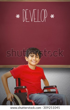 The word develop and portrait of boy sitting in wheelchair against red background