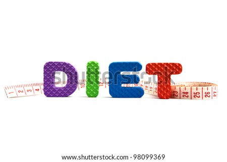 "The word ""Diet"" written with colorful alphabet puzzle letters and a measuring tape isolated on white background - stock photo"