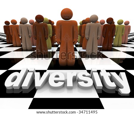 The word Diversity on a chessboard with a line-up of many people of different races. - stock photo