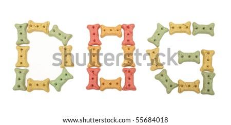 The Word Dog Using Treats - stock photo