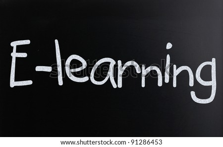 "The word ""E-learning"" handwritten with white chalk on a blackboard - stock photo"