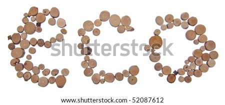 The Word ECO in Tree Stumps Isolated on White with a Clipping Path.