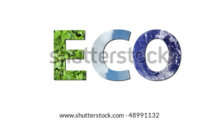 The word eco is written composing of elements of earth, water and air. Water picture from NASA. - stock photo