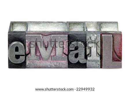 The word eMail in old letterpress printing blocks isolated on a white background. - stock photo