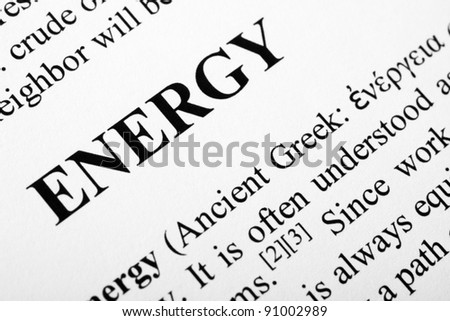 The word energy shot with artistic selective focus.
