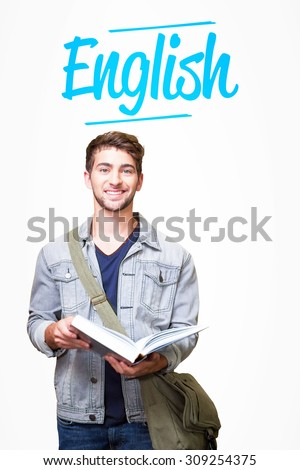 The word english and student smiling at camera in library against white background with vignette - stock photo
