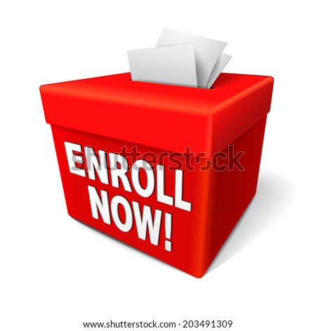 the word enroll now on the red box and enrollment application form entry box - stock photo