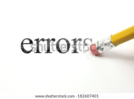 The word errors written with a pencil on white paper.  An eraser from a pencil is starting to erase the word errors. - stock photo