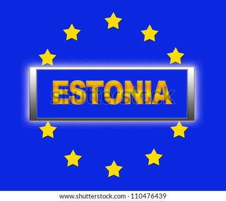 The word Estonia and flag of Europe . - stock photo