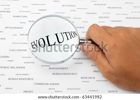 The word EVOLUTION is magnified. - stock photo