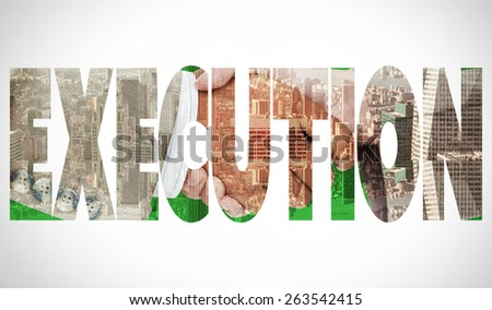 The word execution and side view of business peoples hands shaking against room with large window looking on city - stock photo