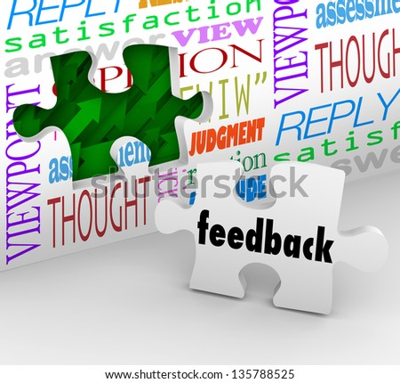 The word Feedback on a puzzle piece filling a hole in a wall with words like opinion, satisfaction, reply and response to symbolize customer input - stock photo