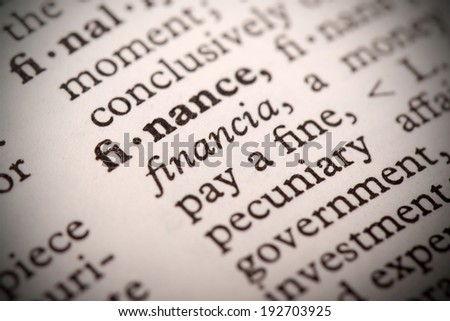 """The word """"Finance"""" in a dictionary - stock photo"""