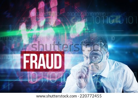 The word fraud and focused businessman with magnifying glasses against red technology hand print design - stock photo